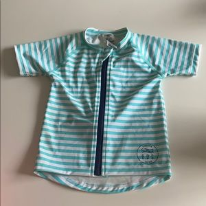 Bonds baby rash vest swim blue white stripe size 0